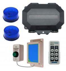 Wireless Commercial Doorbell Flashing LED Kit inc Heavy Duty Push Button & 2 x Blue Flashing LEDs