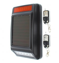 Solar Powered Wireless Siren & Flashing Strobe Light & Remote Controls